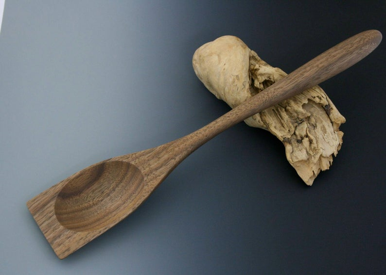 Handmade walnut wood roux spoon.